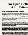 An Open Letter to Our Patients